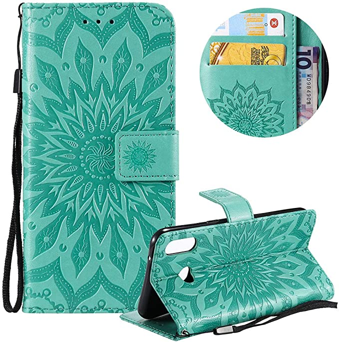 Moiky Pretty Beautiful Mandala Sunflower Embossed Card Slots Shock absorbing Protective Case PU Leather Wallet Case for Samsung Galaxy S10 Gray Phone Case for Samsung Galaxy S10