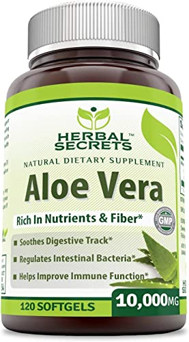 Herbal Secrets Aloe Vera 10000 Mg, 120 Softgels Non-GMO - Regulates Intestinal Bacteria, Soothes Digestive Track, Helps Improve Immune Function*