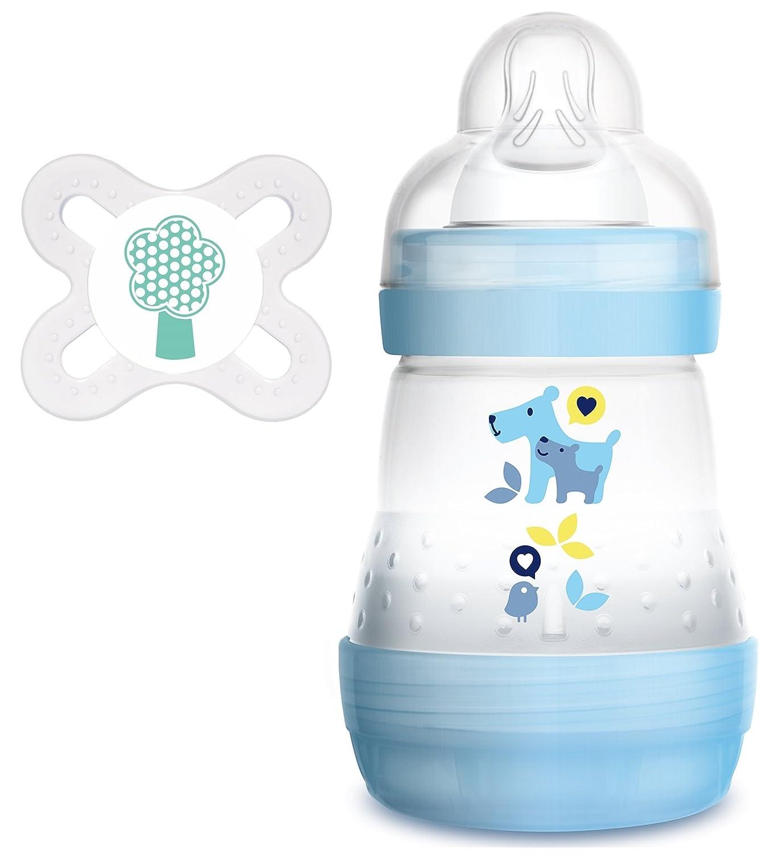 MAM Anti Colic Flasche 160 ml plus MAM Schnuller Start 0-2 Monate f/ür Jungen