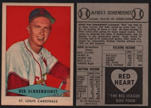 1954 Red Heart Dog Food Regular (Baseball) Card# 27 Red Schiendienst of the St. Louis Cardinals VGX Condition