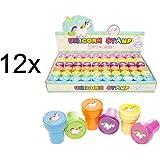 12x Einhorn Stempel selbstfärbend Mitgebsel Kindergeburtstag für Jungen & Mädchen Regenbogen von TK-Gruppe (12x Stück)