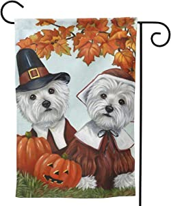 MINIOZE Westie Dog Cute Thanksgiving Pumpkin Autumn Fall Big Large Jumbo Party Themed Flag Welcome Outdoor Outside Decorations Ornament Picks Garden Yard Decor Double Sided 12.5X 18 Flag