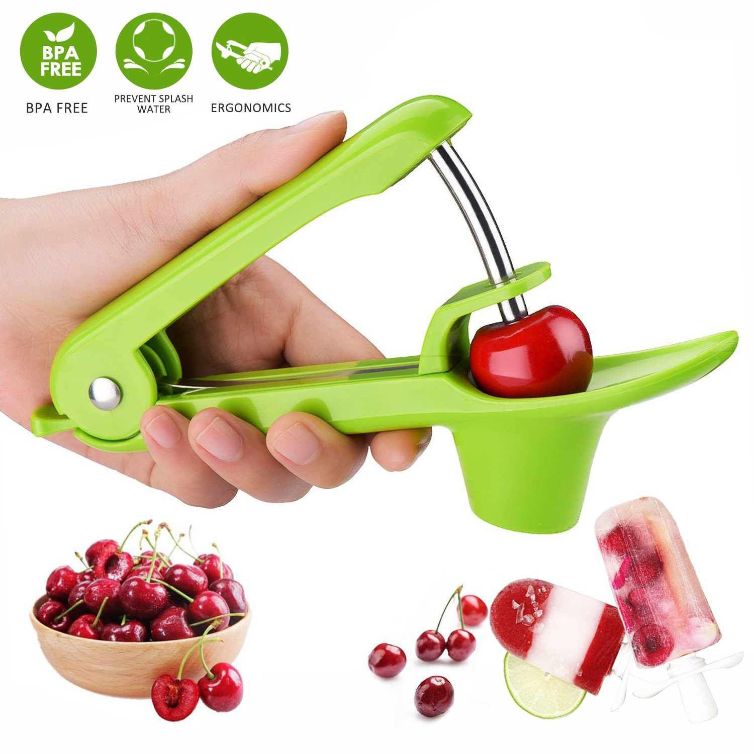 Cherry Pitter, Cherry Stoner, Cherry Destoner, Cherry Seed Remover Tool, Silicone Olive Pitter Quick Easy Squeeze Cherry Corer with Stainless Rod Cherry Pip Remover for Cake Baking Cooking Jam Jelly -JaLL