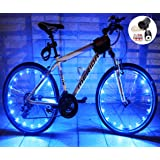 LEDMO (2 pack)Bicycle Bike Rim Lights, LED String Light Colorful Bicycle Bike Wheel Rim Copper Wire Starry Light - Battery