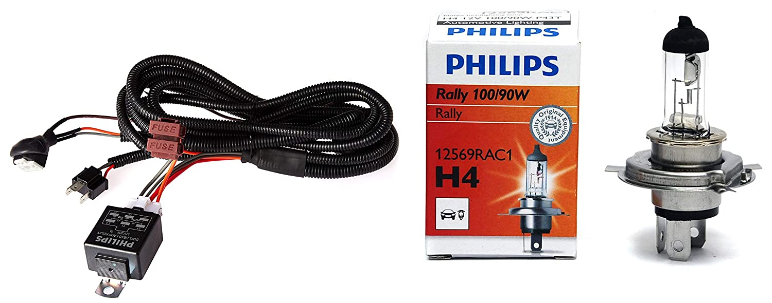 Philips 12003XM H4 Heavy Duty Relay Wiring Kit for High Power (100/90W on