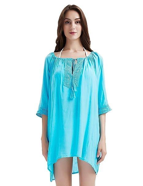 2a68175ad6c2a4 Ferand - Copricostume Elegante con Laccio Costume Bikini da Bagno Mare  Piscina per Estate - Donna - Stile 1 (Cotone)  Alzavola  Amazon.it   Abbigliamento