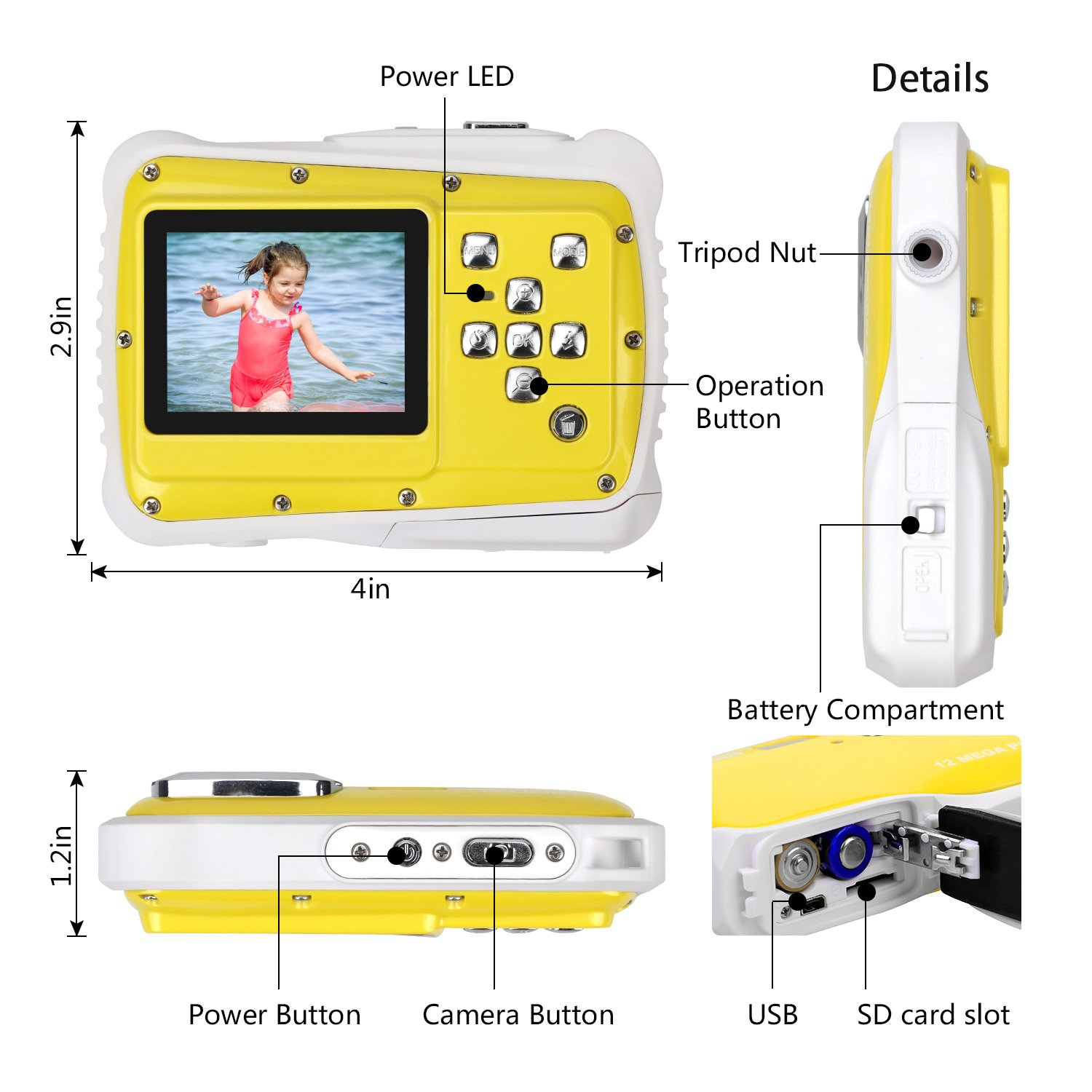 BOMEON Waterproof Camera for Kids Underwater Action Camera Camcorder with 12MP HD 8X Digital Zoom Flash Mic 2.0 Inch LCD Display with 8G SD Card 3 Non-Rechargeable Batteries Included by BOMEON (Image #4)