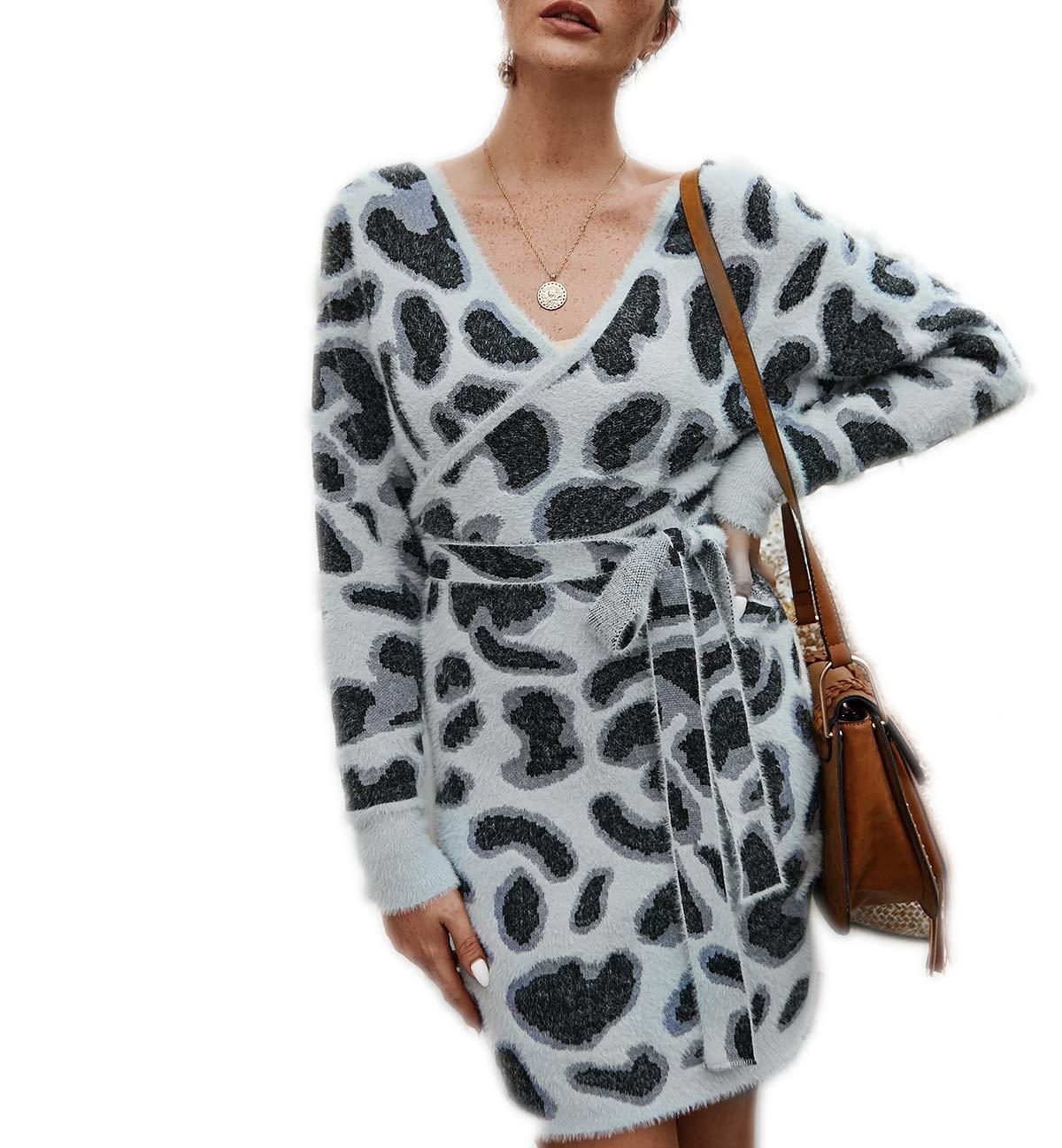 Women's Casual Knit Sweater Wrap Dress,Long Bat Wing Sleeve Leopard Print V Neck Backless Slim Fit Pencil Dresses with Belt Gray by KINGLEN Womens Dress