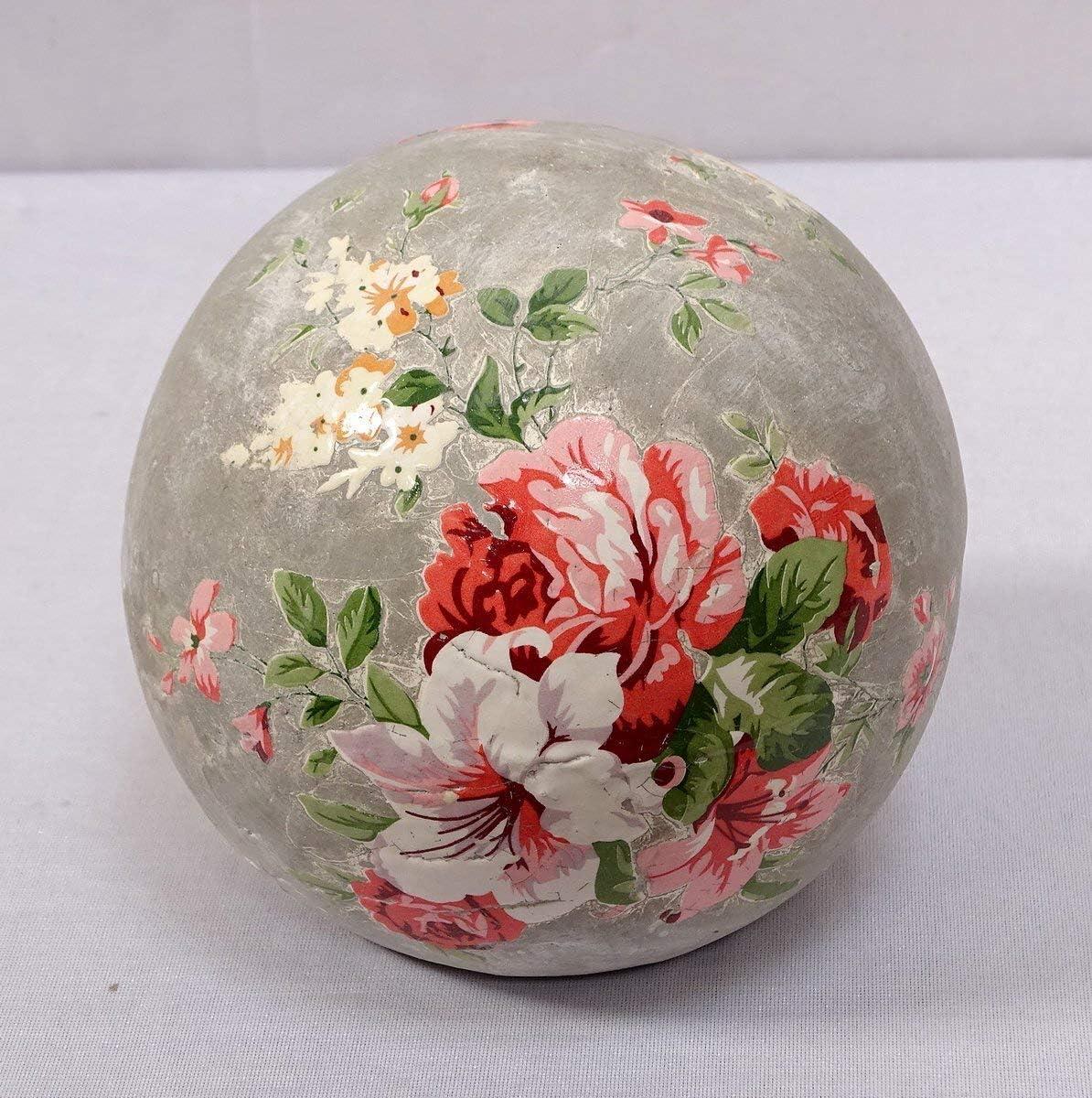 Terrakotta Gartenkugel mit Blumenmuster Landhaus Beet-Kugel 12 cm Rosenkugel
