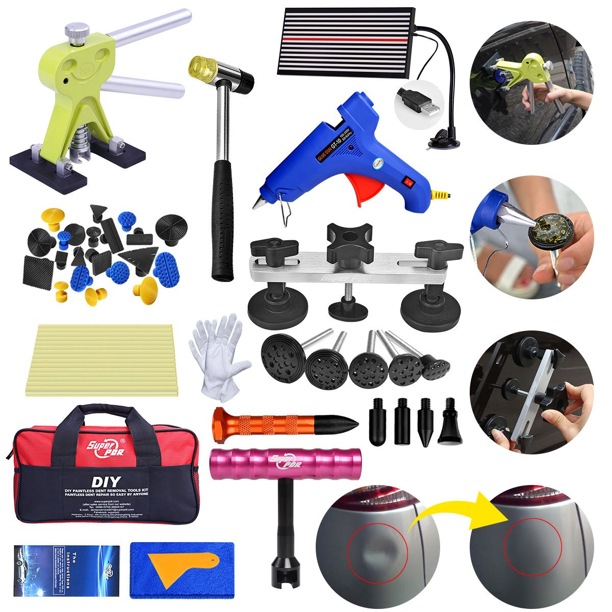 Fly5D 43pcs Paintless PDR Kit DIY Car Dent Repair Tool Dent Removal Puller Set with Tool Bag Pops a Dent Glue Pulling Tool