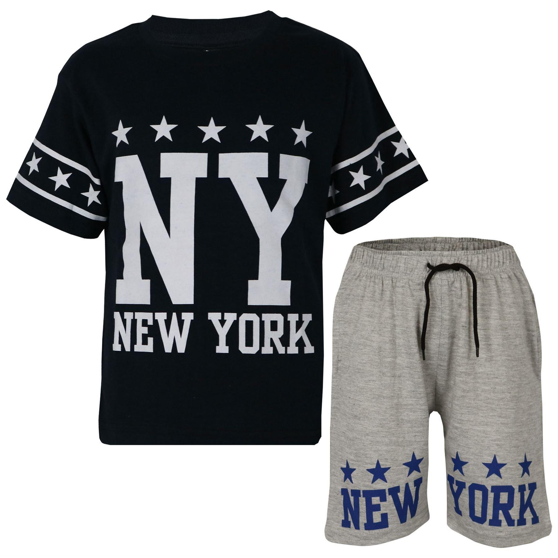 Kids Boys Girls T Shirts Shorts 100% Cotton NY New York Top Short Set 5-13 Years