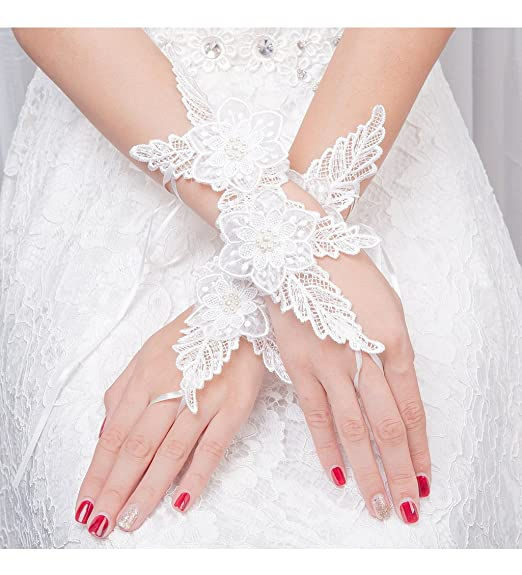 79a52df90ee PearlBridal Women s Fingerless Rhinestone Wedding Lace Gloves Beaded Lace  Bridal Gloves for Prom Party Ivory-