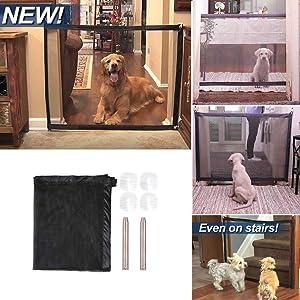 Grizack Mágica portátil Puerta de Seguridad Plegable Malla Guardia Red mágica para Mascotas Perros Gatos