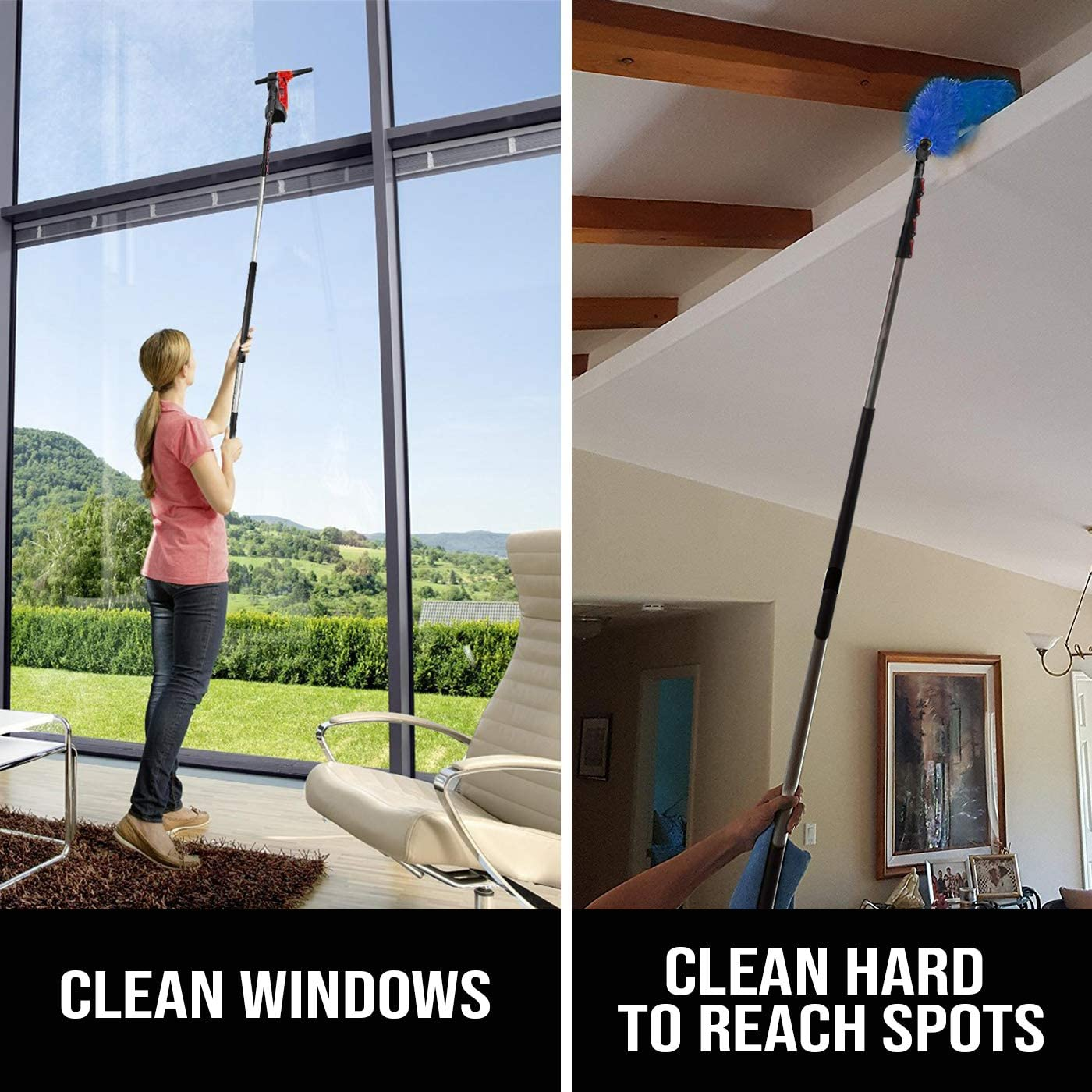 6 - 24 Foot Telescopic Extension Pole - Multi functional pole, Paint Roller, Light Bulb Changer, Duster Pole, Antenna pole, Hanging Lights, Window and ...