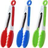 HINMAY Mini Tongs with Silicone Tips 7-Inch Serving Tongs, Set of 3 (Red Blue Green)