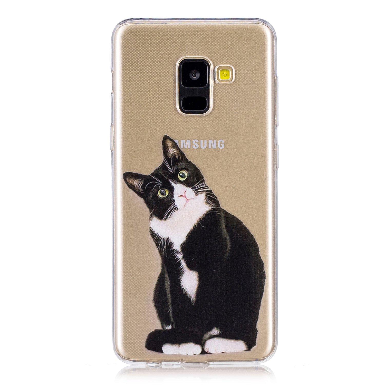 BONROY Hü lle, Schutzhü lle Case Silikon- Crystal Clear Ultra Dü nn Durchsichtige Backcover Handyhü lle TPU Case fü r Samsung Galaxy A8 2018 - Schwarz-Weiß -Katze
