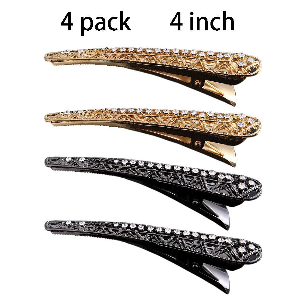 4 Pack Duckbill teeth clip barrettes, Alligator Crystal Hair Clips, Durable Crocodile Hairpin Hair clips for women Styling, Professional Salon Non-Slip Hair Accessories