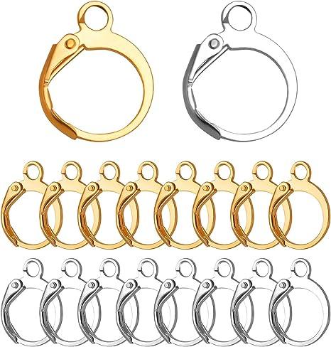 100pcs Hypoallergenic Earring Hooks Leverback Earwire 50 Gold /& 50 Silver Gold Plated Brass Earrings Making Findings CF190-15mm Long