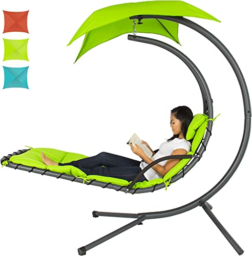Best Choice Products Outdoor Hanging Curved Steel Chaise Lounge Chair Swing