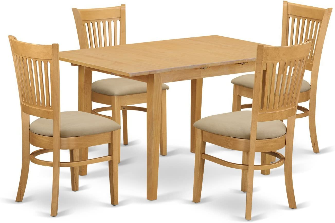 NOVA5-OAK-C 5 PC Table and Chairs set – Kitchen dinette Table and 4 Kitchen Dining Chairs