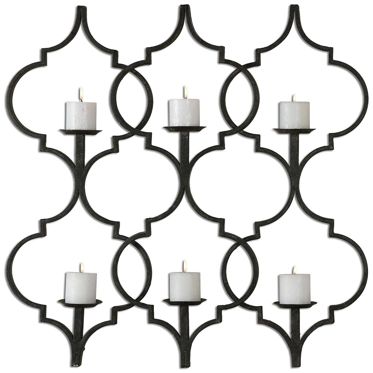 Uttermost 13998 Zakaria Metal Candle Wall Sconce, Taupe Gray