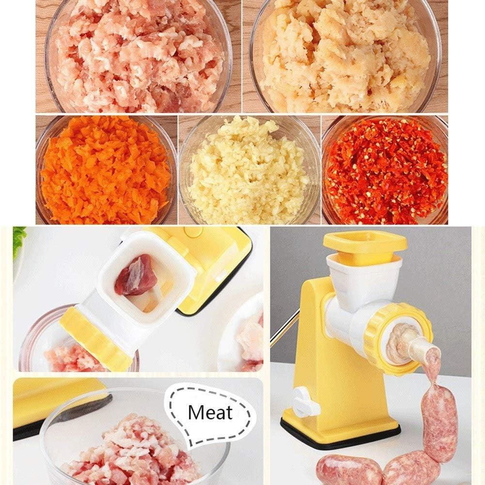 SZHSM Tritacarne Manuale, manovella Mincer selettore Rotante, Senza Sforzo Grind Salsiccia Cookies Verdure Aglio Frutta (Colore : Yellow) Yellow