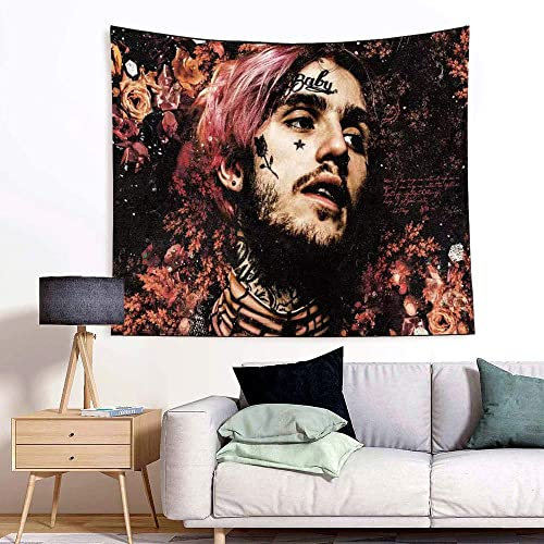 SUNSIST Lil Peep Tapestry, Rapper Tapestry Wall Tapestry 3D Boutique Art Tapestry Wall Hanging Pop Art Home Decorations for Living Room Bedroom Dorm Decor 59.1 x 51.2 inches