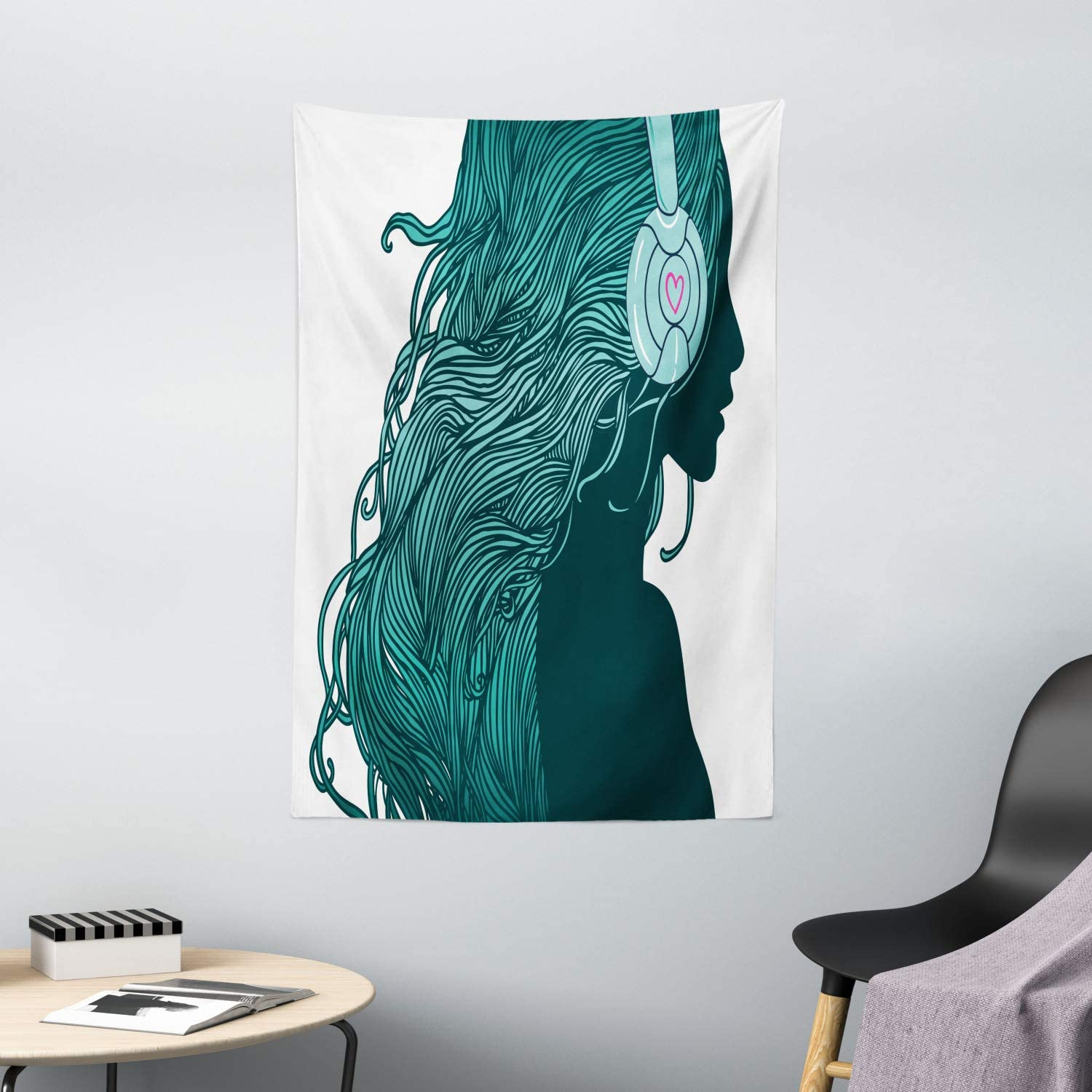 DJ Girl Profile with Long Hair in Headphones Nightclub Silhouettes Party Picture Wall Art Tapestries for Home Bedroom Living Room Dorm Decor Teal White Music Tapestry Wall Hanging