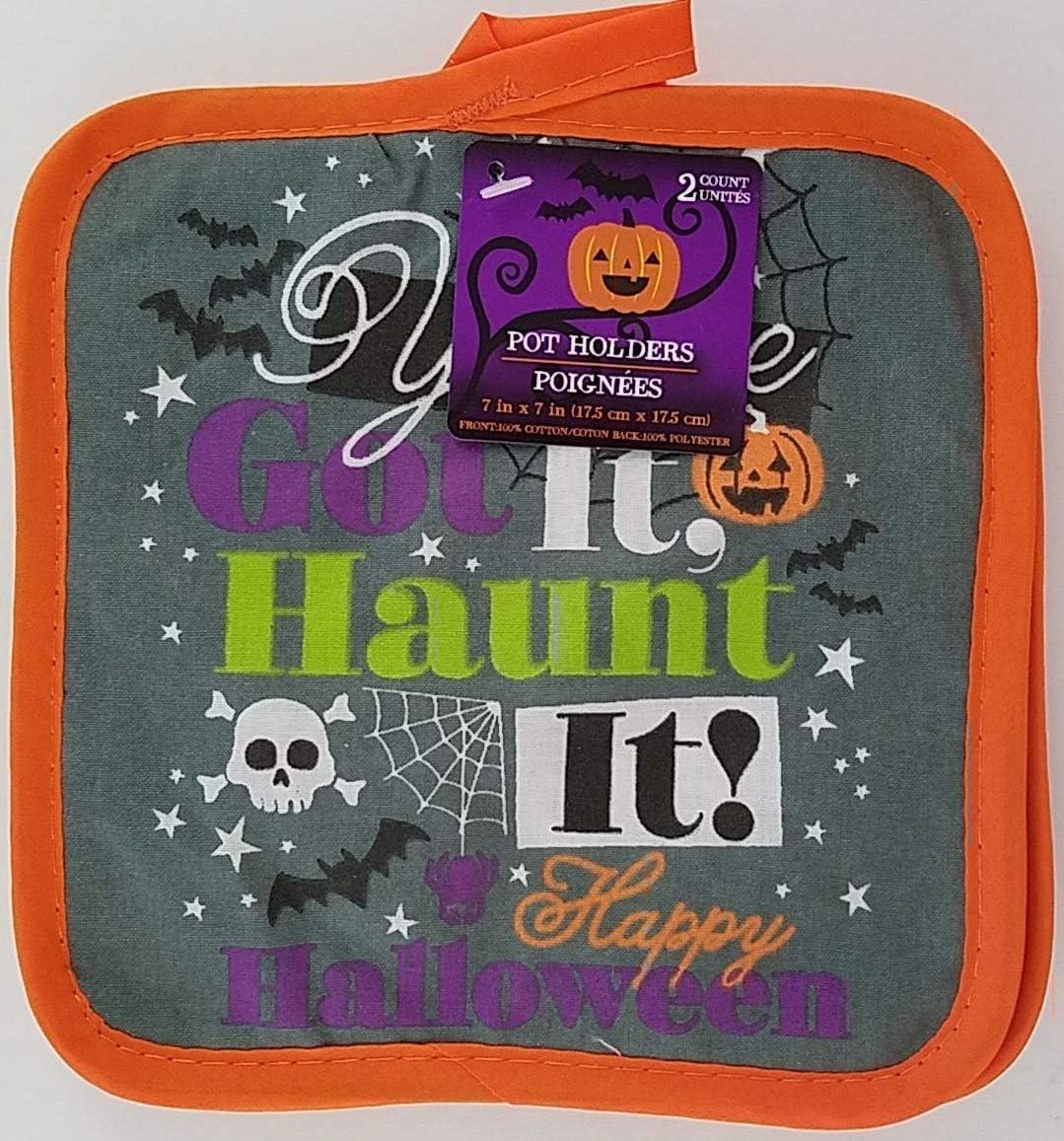 Halloween Kitchen Linen Towels, Oven Mitts & Pot Holders, Select Theme (Haunt It Pot Holder)