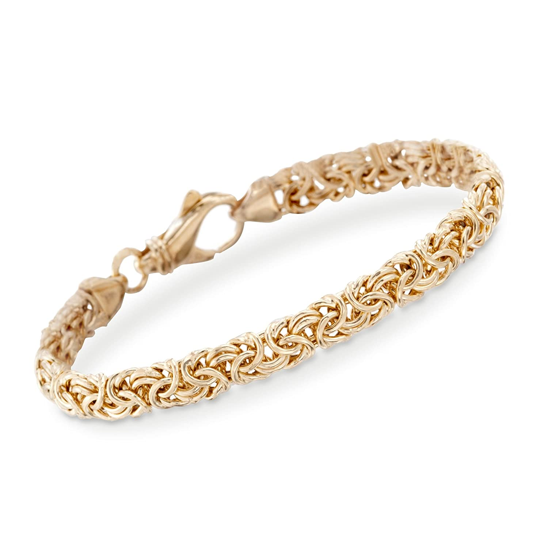 Ross-Simons 18kt Gold Over Sterling Silver Small Byzantine Bracelet 1865611