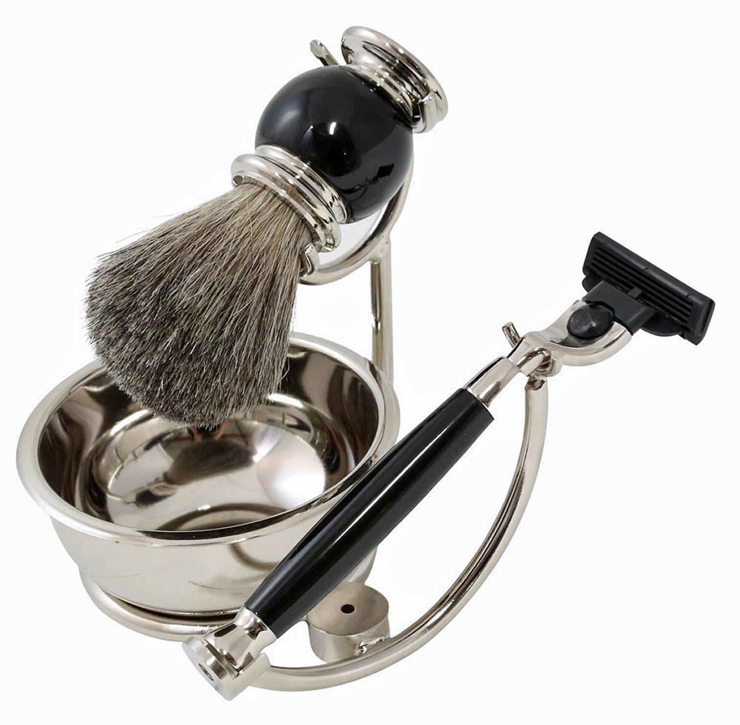 ''Bond Street'' Shaving Set - ''Mach 3'' Razor - Brush - Soap Dish - Chrome Stand - Black Enamel Accents