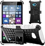 GizzmoHeaven Microsoft Lumia 640 / 640 Dual Sim Hülle Stoßfest Handy Schutzhülle Stoßgedämpfter Extraharte Tasche Silikon Gel Hybrid Armor Cover Case Etui mit Ständer für Microsoft Lumia 640 - Weiß
