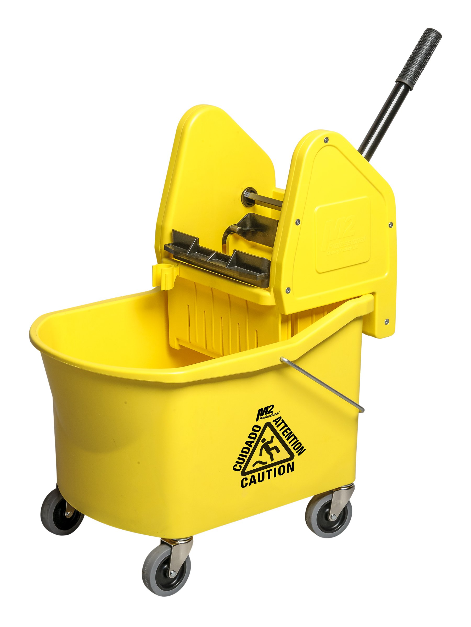 M2 Professional 32Qt/30L Grizzly Mop Bucket with Down-Press Wringer - Yellow