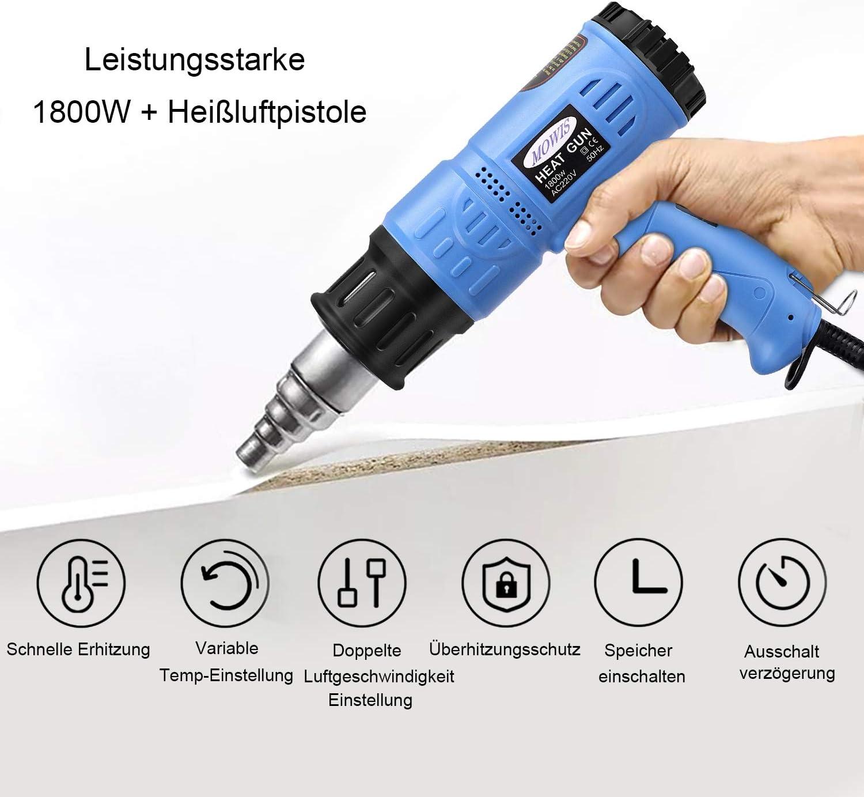 Pistola de Aire Caliente MOWIS 1800w con Pantalla LED Memoria de Temperaturas 8 Accesorios Azul Temperatura Ajustable 50℃-600℃ Flujo Ajustable 190-500L//M