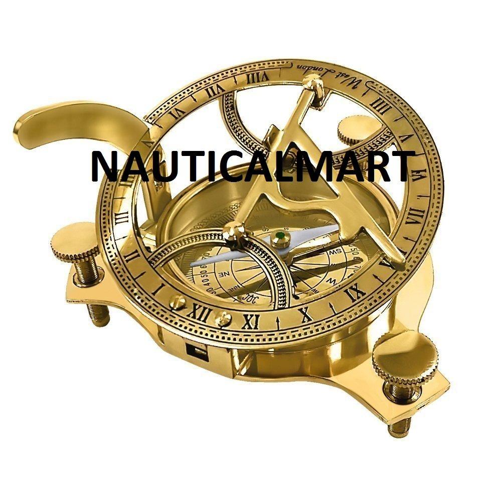 Nautisches Mart Marine Piraten Messing Sonnenuhr Kompass w/Hartholz Box