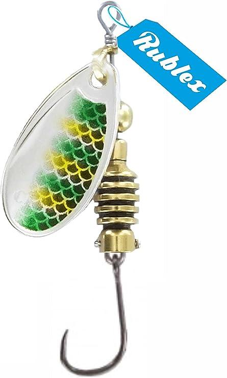 Rublex - Pack de 5 Cucharillas de Pesca Celta-2 GFS | Cebo Artificial de Pesca con Anzuelo Simple sin Muerte Fácilmente Intercambiable con Sistema Quita-Vueltas, Color GFS Plata Verde Amarillo, 35gr: Amazon.es: