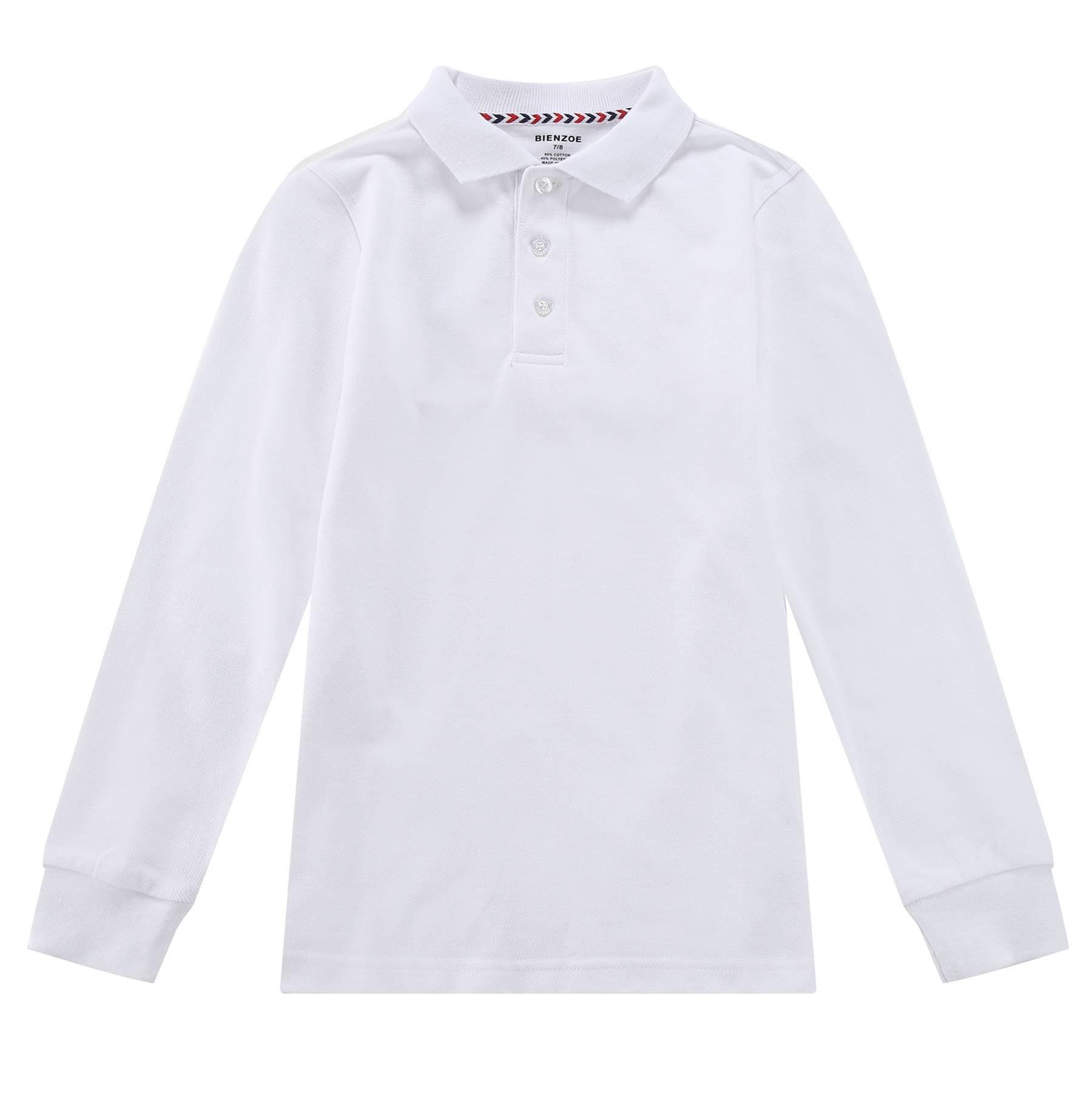 Bienzoe Boy's School Uniform Antimicrobial Breathable Quick Dry Long Sleeve Polo White 10/12