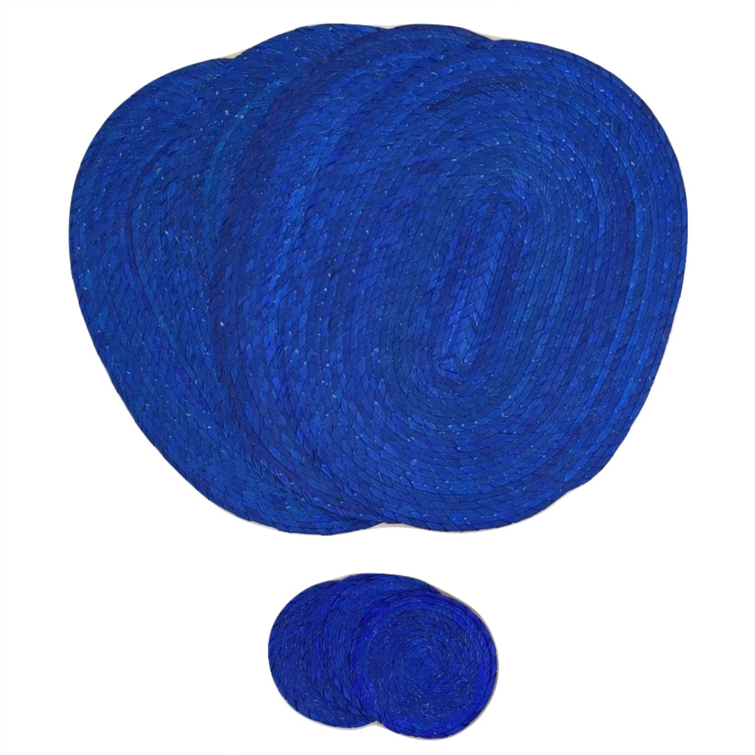 Royal Blue Placemats and Coasters – Set of 4 - Mexican Decor Style - Eco-Friendly, Handmade, Woven, Braided and Reversible - Easy to Clean, Great for Dining Table/Kitchen. Indoor or Outdoor use