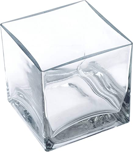 Clear Square Glass Vase Size 5x5x5 Inches Votive Floating Candle Holder and Floral Centerpiece – Case of 12