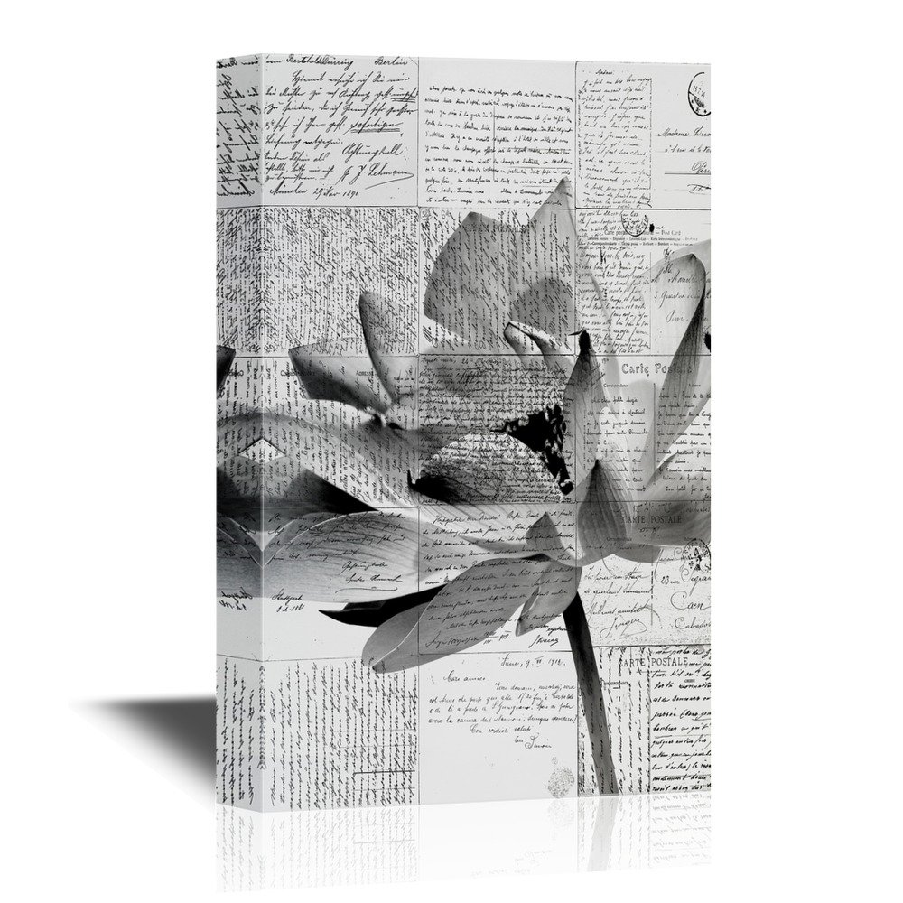 Black And White Lotus Flower On Vintage Letters Background Canvas