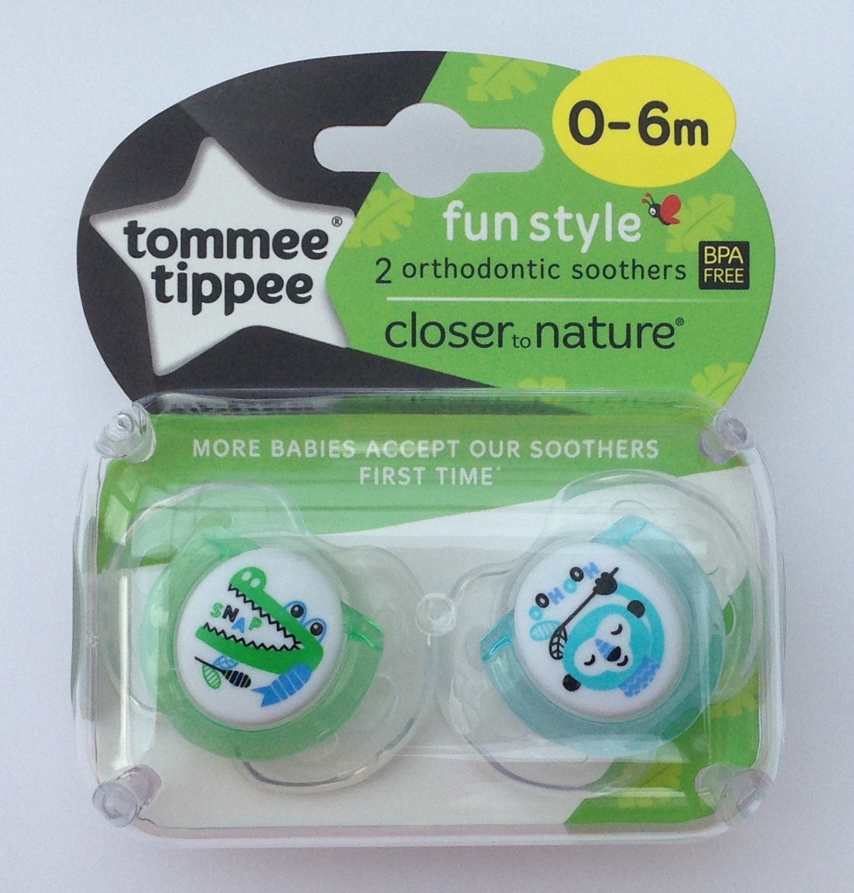 Tommee Tippee Closer To Nature: 2 x Chupete 0-6m (Cocodrilo ...
