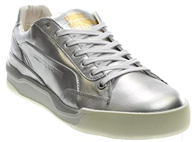 08cd6862d684 PUMA MCQ Move Lo Womens Silver Leather Lace up Sneakers Shoes 8