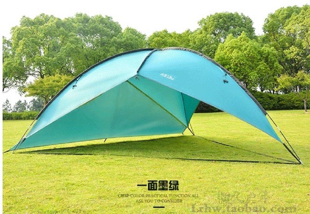タープ テント イージーキャノピー パーティーシェード サンシェルター キャンプテント 5-8人 UVカ ット ビーチ テント 防水 釣り サンシェード サイドウォール付 ダークグリーン 2つの布