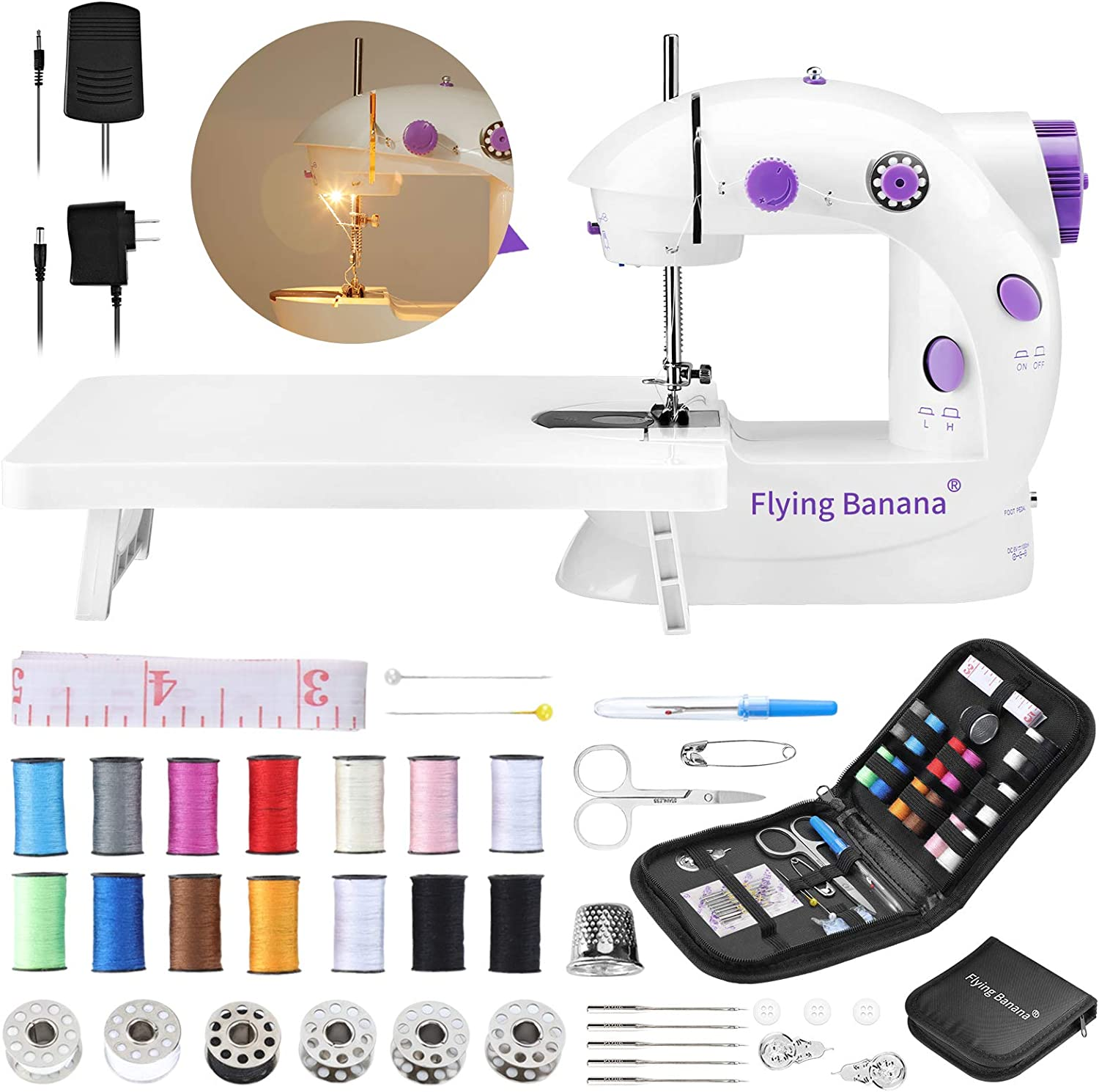 Easy Sewing Machine for Beginner Kid, Electric Portable Sewing Machine Lightweight, Small Household Sewing Handheld Tool with Upgrade with Wewing Kit Extension Table Foot Pedal for Home DIY Project.