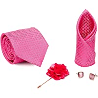 Axlon Men Formal/Casual Jacquard Neck Tie Pocket Square Accessory Gift Set with Cufflinks and Lapel Pin - Dark Pink (Free Size)