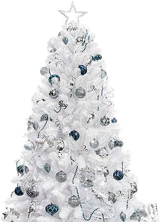 Albero Di Natale Argento E Blu.Busybee Albero Di Natale Da 180 Cm Con 240 Luci A Led E Ornamenti Da 105