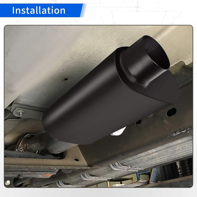 AUTOSAVER88 3 Inch Inlet//Outlet Offset Muffler Single Chamber 3 Universal Black Muffler 13 Overall Length