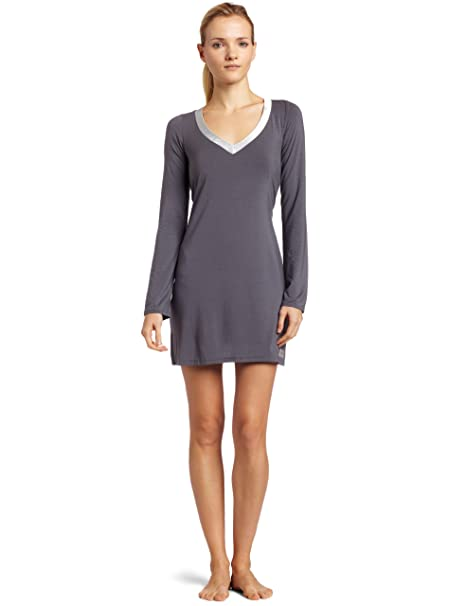 Calvin Klein Women s Essentials With Satin Long Sleeve Nightdress   Amazon.in  Clothing   Accessories 4a52a56e6