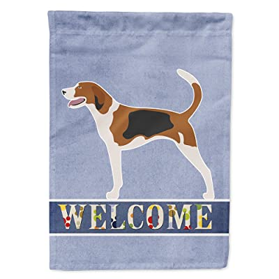 Caroline's Treasures BB8271CHF American Foxhound Welcome Flag Canvas House Size, Large, Multicolor : Garden & Outdoor