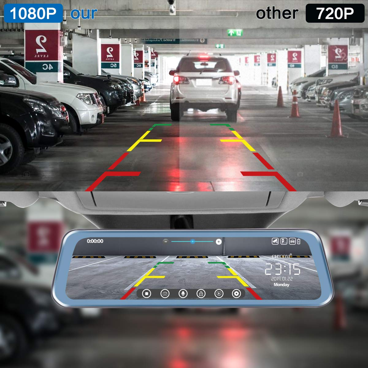 Mirror Dash Cam 9.66'' Dual Lens Full Touch Screen Stream Media Rear View Mirror Camera Made of Aluminum Alloy, 1080P 170°Front and 1080P 140°Backup Camera with Parking Monitor and G-Sensor by CHICOM (Image #4)